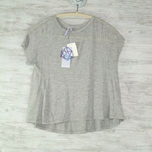 Good Luck Gem Cropped Top Sz S Heather Gray